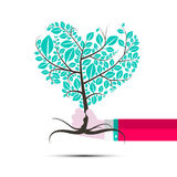 Heart Shaped Tree in Human Hand royalty free illustration