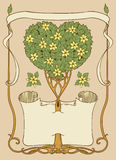 Heart-shaped tree with papirus and frame Royalty Free Stock Photos
