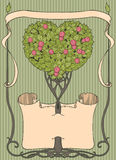 Heart-shaped tree with papirus and frame. Colorful heart-shaped tree with papirus and frame Stock Images