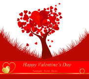 Heart shaped tree. Valentine's Day background with a kissing couple silhouette, heart shaped tree Stock Images