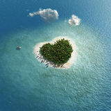 Heart-shaped tropical island. Aerial view Royalty Free Stock Photography
