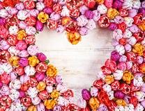 Heart shaped tulip frame Stock Photography