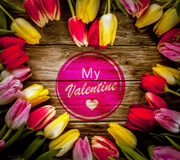 Heart-shaped tulip frame for Valentines Day Stock Image