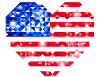 Heart shaped US flag Stock Photo