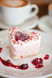 Heart-shaped valentine cake Royalty Free Stock Photography
