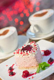 Heart-shaped valentine cake Royalty Free Stock Images