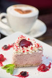 Heart-shaped valentine cake Stock Photo