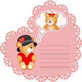 Heart shaped valentine card with teddy bear Royalty Free Stock Photos