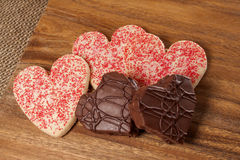 Heart shaped Valentine cookies,heart shaped chocolate candy Royalty Free Stock Photography