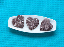 Heart shaped valentine cookies on plate Royalty Free Stock Photo