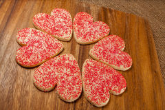 Heart shaped Valentine cookies Royalty Free Stock Photos