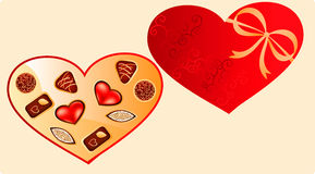 Heart shaped Valentine's box with choco sweets Royalty Free Stock Photography