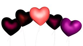 Heart-Shaped Valentine's Day Balloons. Pink, red and purple heart shaped Valentine's Day balloons, 3d digitally rendered illustration Stock Photography