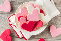 Heart Shaped Valentine's Day Sugar Cookies Royalty Free Stock Photo