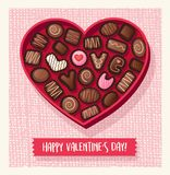 Heart shaped valentines day candy box with chocolates Royalty Free Stock Images