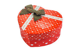 Heart shaped Valentines Day gift box, isolated on white Royalty Free Stock Images