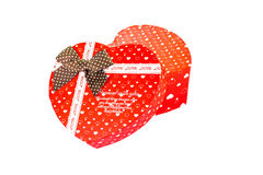 Heart shaped Valentines Day gift box, isolated on white Royalty Free Stock Photos