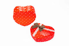 Heart shaped Valentines Day gift box, isolated on white Stock Photography