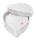 Heart shaped Valentines day white box, close up, isolated Stock Photo