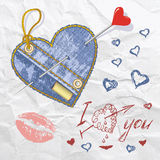 Heart shaped vector jeans emblem Stock Images