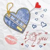 Heart shaped vector jeans emblem Stock Images