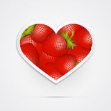 Heart Shaped Vector Red Strawberries Stock Image