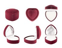Heart shaped velvet box for the ring Royalty Free Stock Photo