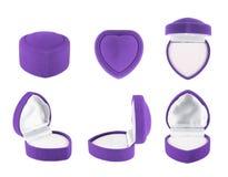 Heart shaped velvet box for the ring Royalty Free Stock Image
