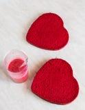 Heart shaped velvet cake Royalty Free Stock Photography