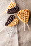 Heart-shaped waffle lollipops Royalty Free Stock Photography