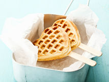 Heart-shaped waffle popsicle Royalty Free Stock Photo