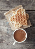 Heart shaped waffles and coffee Royalty Free Stock Photo