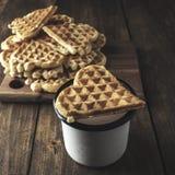 Heart Shaped Waffles Royalty Free Stock Photos