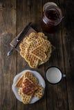 Heart Shaped Waffles Stock Photos