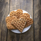 Heart shaped waffles Royalty Free Stock Images