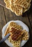 Heart Shaped Waffles Stock Photography