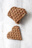 Heart shaped waffles  on table Stock Photography