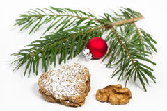 Heart shaped Walnut Christmas Cookie Stock Photo
