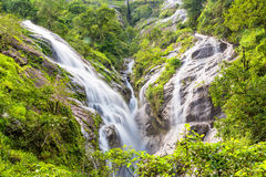 Heart-shaped waterfall. Pitugro waterfall locate in deep forest of Umpang, Thailand.  Royalty Free Stock Photography