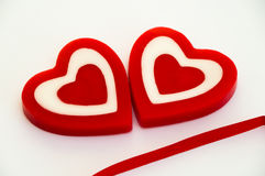 Heart shaped wax candles Stock Photography