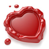 Heart-Shaped Wax Seal. Red wax seal in the shape of a heart  on white background. Computer generated image with clipping path Stock Photography