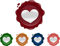 Heart shaped wax seals Royalty Free Stock Photo
