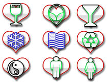 Heart shaped web icons Royalty Free Stock Images