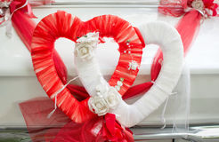 Heart shaped wedding car decoration Stock Image
