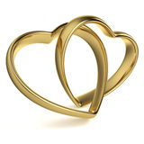 Heart-Shaped Wedding Rings. Golden rings in the shape of a heart linked together on white background. Computer generated image with clipping path Royalty Free Stock Images