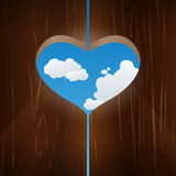 Heart shaped window against the sky Royalty Free Stock Photo