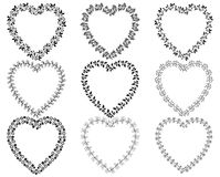 Heart shaped wreath borders. Vector set of floral heart shaped wreath borders for Valentine`s day, invitations and other designs in black color with copy space Stock Photos