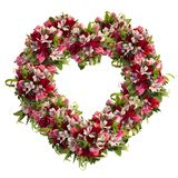 Heart-shaped wreath of roses, tulips and alstroemeria on white background stock images