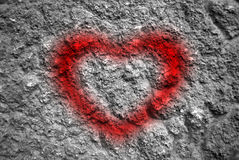 Heart shaped writing on the wall Stock Photo