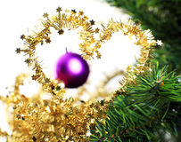 Heart shaped Xmas decorations on christmas tree Royalty Free Stock Photography